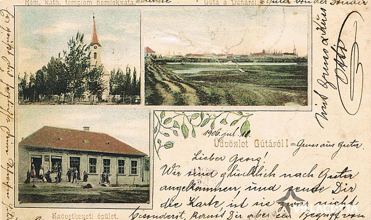 Szövetkezeti épület, a templom homlokzata, Gúta a Dunáról.