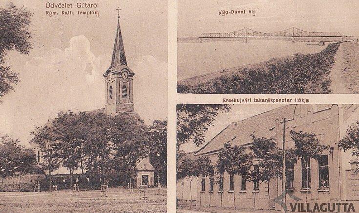 Róm Kath templom, Vág-Dunai híd, Érsekújvári takarékpénztár fiókja