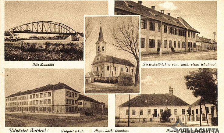 Kis-Dunahíd, Tisztviselő-lak a róm. kath. elemi iskolával, Polgári iskola, Róm. kath. templom.