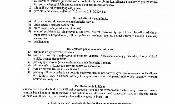 A szabadidőközpont igazgatói helyére kiírt pályázat szlovákul.