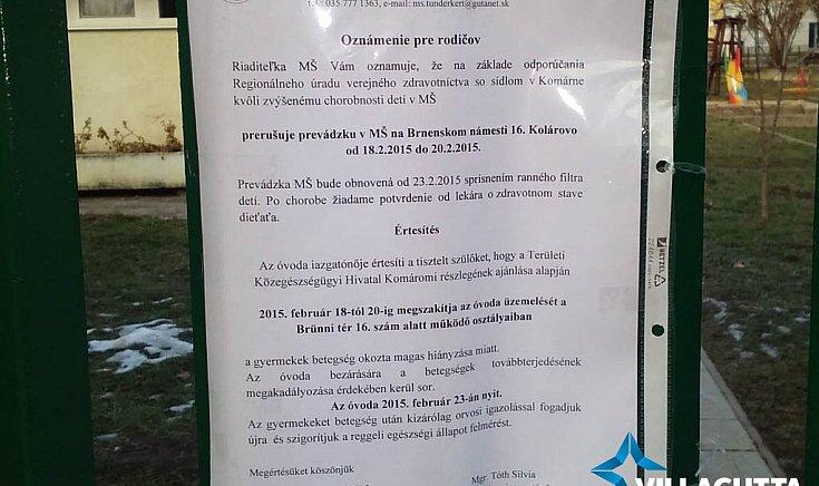 Ideiglenesen bezárt a Tündérkert óvoda Gútán